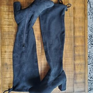 Black Suede over the knee heeled boots Size 8